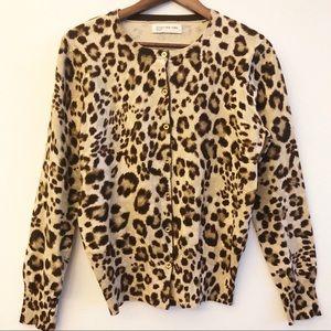 JONES NEW YORK Leopard Print Cardigan Sweater